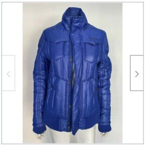 G-Star Raw Blue Ribbed Puffer Coat sz Medium